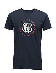 V-NECK T-SHIRT BIG PRINT - NAVY