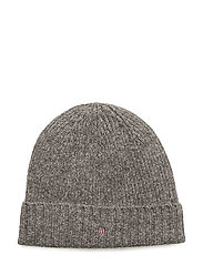 FLEECE LINED COTTON/WOOL BEANIE - DARK GREY MELANGE
