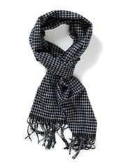 HOUNDSTOOTH SCARF - BLACK