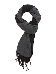 O. TWO-FACE WOVEN SCARF - BLACK
