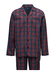 PAJAMA SET YALE CHECK LOGO ELASTIC - RED