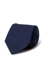 SOLID SILK JACQUARD TIE - CLASSIC BLUE