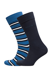 2-Pack SOLID & STRIPED SOCKS GIFT BOX - NAUTICAL BLUE