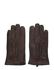 O1.CLASSIC LEATHER GLOVES - DARK BROWN