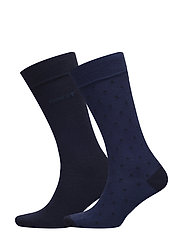 O1. 2-PACK DOT AND SOLID SOCKS - YALE BLUE