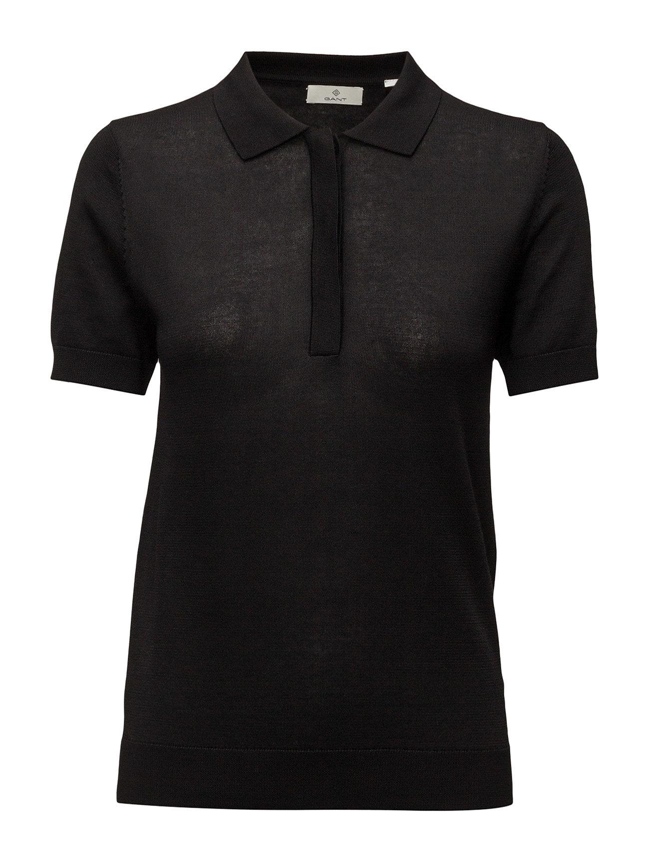 G1. Knitted Polo Top GANT T-shirts & toppe til Kvinder i Sort