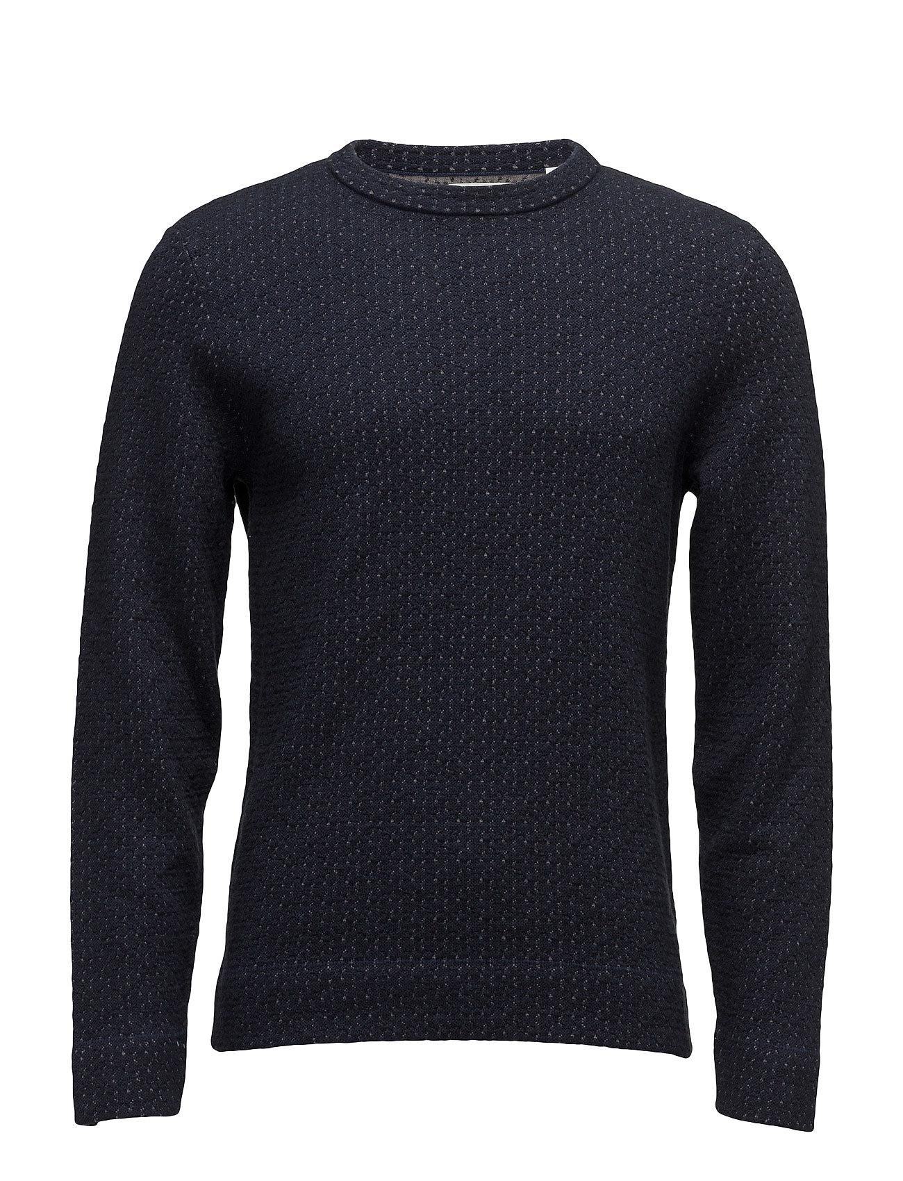G1. Jacquared Knitted Crew Neck GANT Sweat pants til Herrer i Marine blå