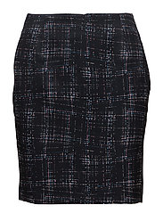G1. CITY LIGHTS CHECK SKIRT - BLACK