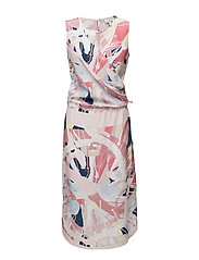 G2. SPIN ART PRINTED SLIK DRESS - FADED ROSE