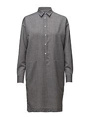 G1. WOOL SHIRT DRESS - ASPHALT