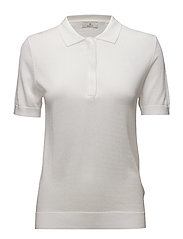 G1. KNITTED POLO TOP - WHITE