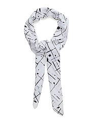 G1. GRID DRIP PRINTED SCARF - NATURE WHITE