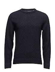 G1. JACQUARED KNITTED CREW NECK - MARINE