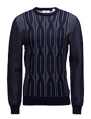G1. CABLE KNIT CREW - CLASSIC BLUE