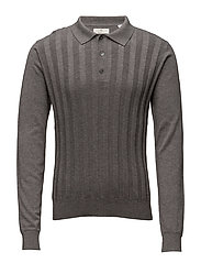 G1. RIBBED COTTON SILK LS POLO - GRAPHITE MELANGE