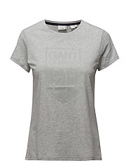 LM. C-NECK SHIELD SS T-SHIRT - LIGHT GREY MELANGE