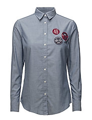 LM. TECH PREP BADGE OXFORD SHIRT - DENIM BLUE MEL