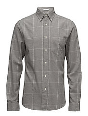 R2. WINDBLOWN FLANNEL CHECK SLIM BD - GREY MELANGE