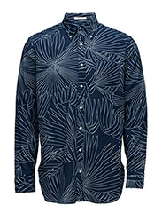 R. INDIGO OXFORD PALM LONG SHIRT - DARK INDIGO