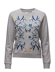 R1. THE EMBROIDERED SWEAT - GREY MELANGE