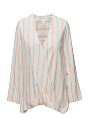 R2. WINDBLOWN OXF STRIPE WRAP SHIRT - EGGSHELL