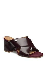 Rachael Leather Mule - BURGUNDY
