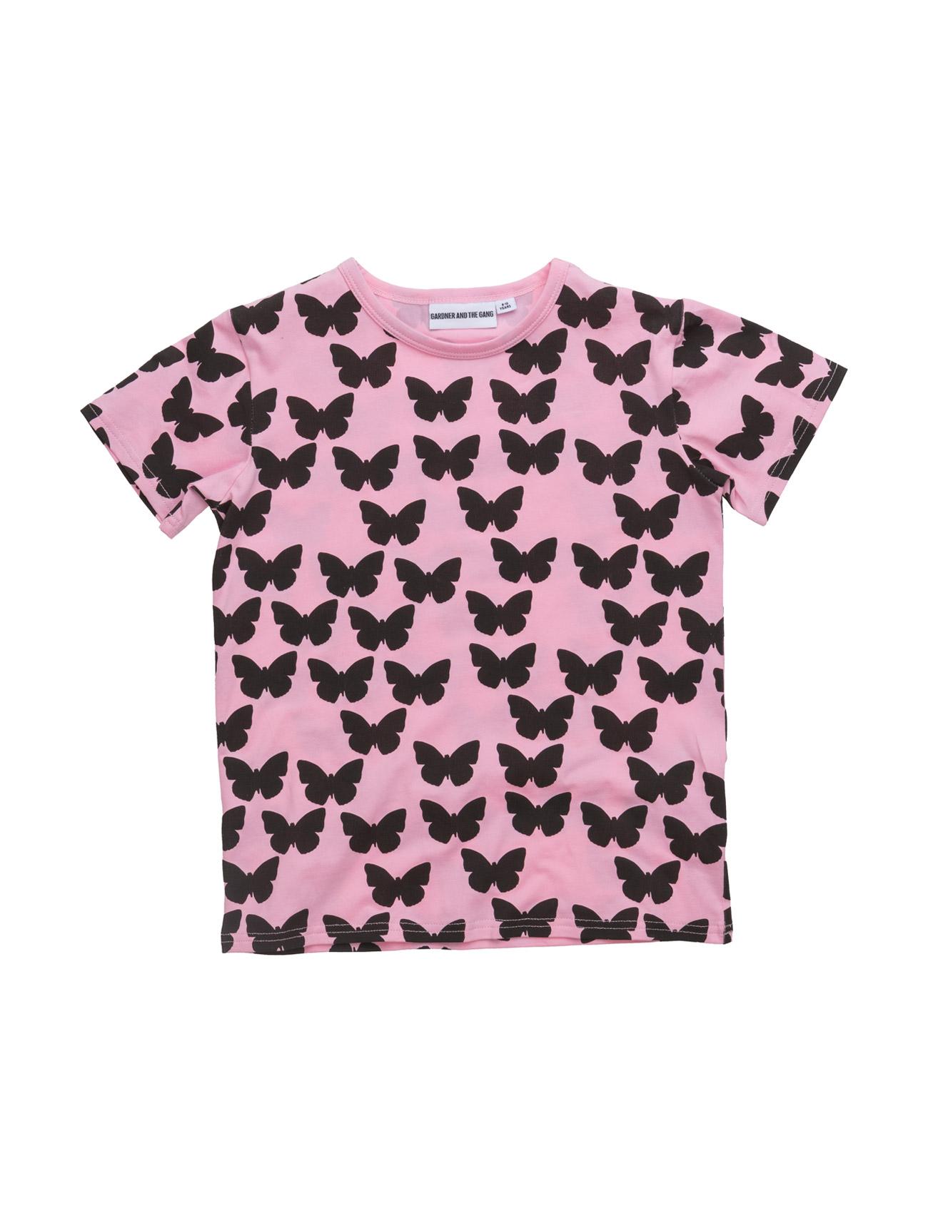 The Cool Tee Silhoette Butterflies Gardner & the Gang Kortærmede t-shirts til Børn i Lyserød