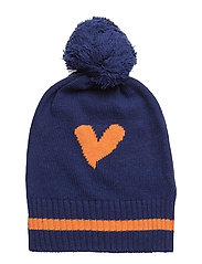 HAT KNITTED LOVE HEART - TEAL BLUE