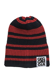 Knitted Beanie - NAVY/RED