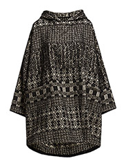Jacquard Patchwork Cape-Style Coat - Black
