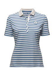 POLO SHIRT SHORT SLE - BLUE/ECRU/WHITE PRINT