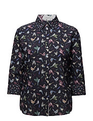 BLOUSE 3/4-SLEEVE - NAVY-COLORFUL