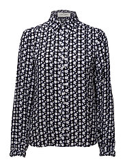 BLOUSE LONG-SLEEVE - BLUE-BLACK-WHITE