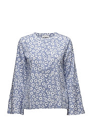 BLOUSE LONG-SLEEVE - WHITE-BLUE