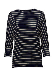 T-SHIRT 3/4-SLEEVE R - BLEU/ECRU/WHITE HOOPS