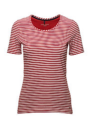 T-SHIRT SHORT-SLEEVE - RED/ORANGE/ECRU/WHITE HOOPS