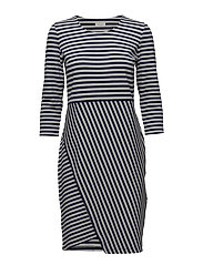 DRESS KNITTED FABRIC - BLUE/GREY HOOPS