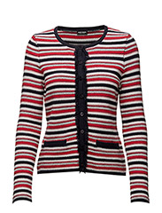 JACKET KNITWEAR - NAVY/RED HOOPS