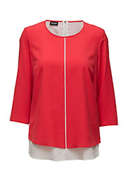 BLOUSE 3/4-SLEEVE - RED/ORANGE/ECRU/WHITE PATCH