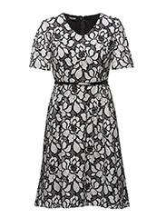 DRESS WOVEN FABRIC - ECRU/WHITE/BLACK FIGURED