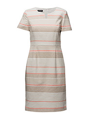 DRESS WOVEN FABRIC - ECRU/WHITE/RED/ORANGE PRINT
