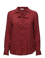 BLOUSE LONG-SLEEVE - BRICK/ ECRU PRINT