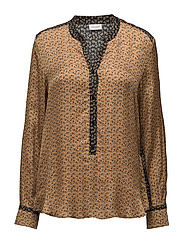 BLOUSE LONG-SLEEVE - HONEY/ GREY PRINT