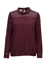 BLOUSE LONG-SLEEVE - MERLOT