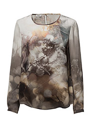 BLOUSE LONG-SLEEVE - ECRU/ HONEY/ GREY PRINT
