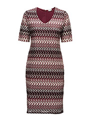 DRESS KNITTED FABRIC - RED/ORANGE/LILAC/PINK MULTICOL