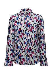 BLOUSE LONG-SLEEVE - BLACK/ BLUE/ FUCHSIA PRINT