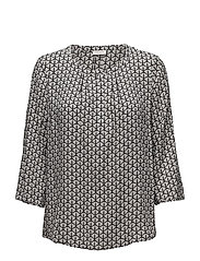 BLOUSE 3/4-SLEEVE - ECRU/WHITE/BLACK PRINT