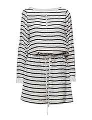 Deidre dress MS16 - WHITE W. BLACK STRIPE