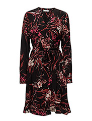 Mary dress MA16 - BLACK/PINK FLOWER PRINT